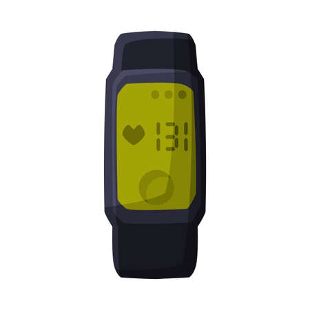 Smartwatch with Heart Rate, Portable Pulse Tracker with Touchscreen, Workout Gadget, Fitness and Sports Equipment Vector Illustration