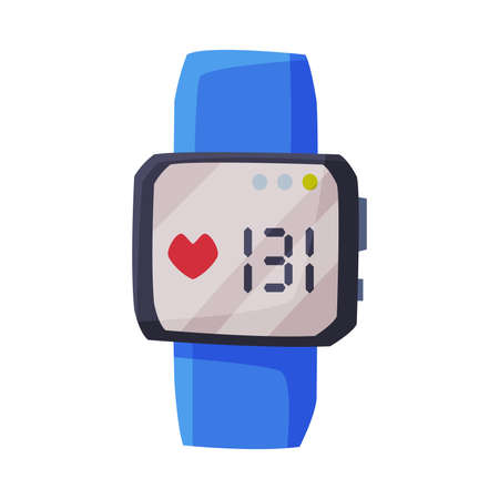 Smartwatch with Heart Rate Healthcare App, Portable Pulse Tracker with Touchscreen, Sport Equipment Vector Illustration on White Background