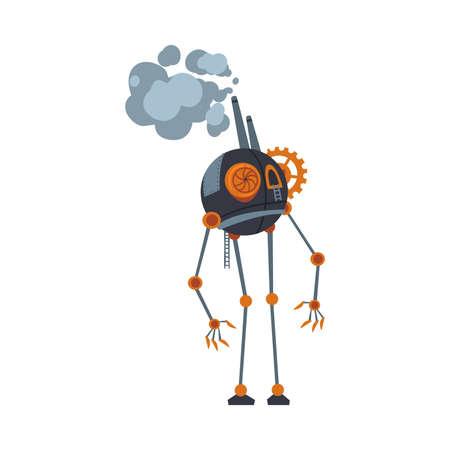 Steampunk Robot, Antique Mechanical Device or Mechanism, Stylized Cartoon Style Vector Illustration Ilustração Vetorial