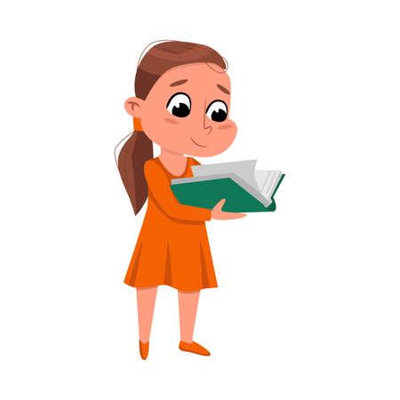 Brunette Girl Reading Book while Standing, Adorable Preschooler Kid or Elementary School Student Enjoying Literature Cartoon Style Vector Illustration Ilustração