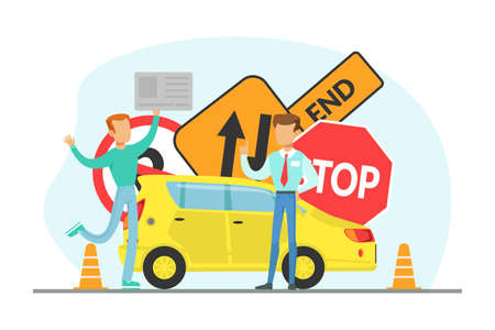 Teacher and Student Learning to Drive, Driving School Concept Cartoon Vector Illustration