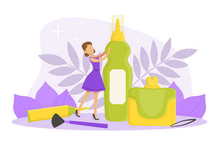 Tiny Woman with Huge Cosmetic Bottle, Jar and Visagiste Professional Cosmetic Accessories, Skin Care and Facial Treatment Concept Cartoon Vector Illustration
