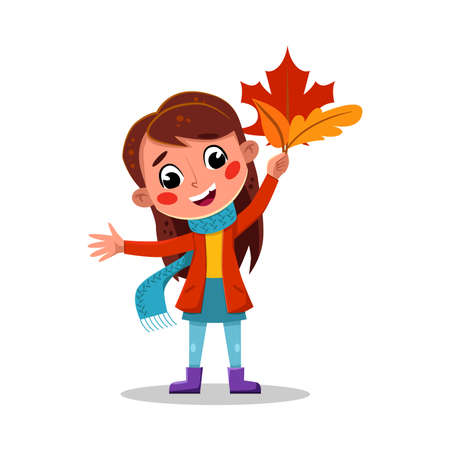 Girl Playing with Maple Leaves, Child Walking Outdoors Wearing Rubber Boots and Warm Clothes Cartoon Style Vector Illustration