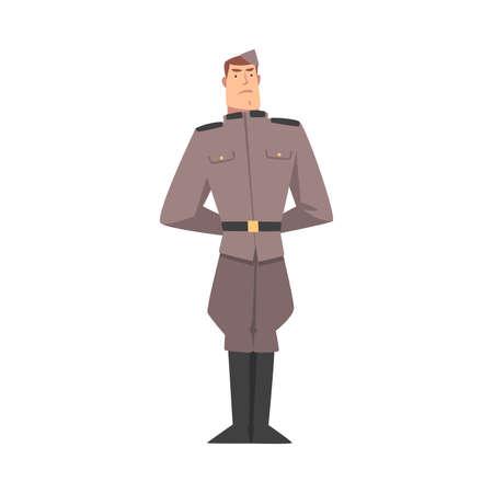 Army Soldier, Infantry Military Man Character in Gray Uniform Cartoon Style Vector Illustration Vektoros illusztráció