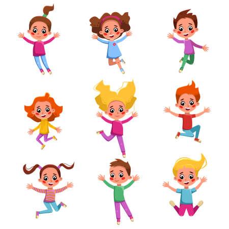 Boys and Girls Happily Jumping Set, Cute Adorable Preschool Kids Having Fun or Celebrating Holidays Cartoon Style Vector Illustration