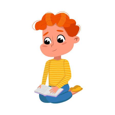Cute Boy Reading Book while Sitting on Ffloor, Preschooler Kid or Elementary School Student Enjoying Literature Cartoon Style Vector Illustration