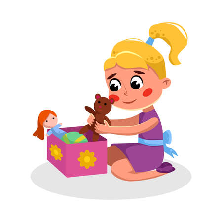 Cute Girl Sitting on Floor Playing Toys, Kids Good Behavior Cartoon Style Vector Illustration Illustration