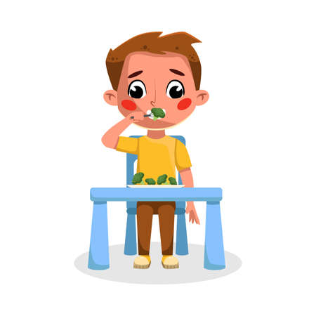 Cute Boy Eating Healthy Food, Good Kids Behavior and Habits Cartoon Style Vector Illustration Illustration