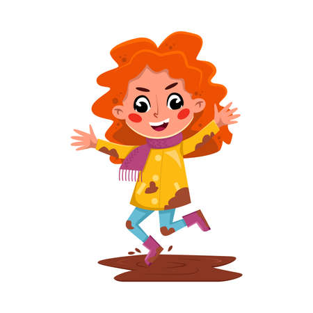 Bully Girl Character Jumping into Dirty Puddle, Naughty Hoodlum Kid Character Cartoon Style Vector Illustration