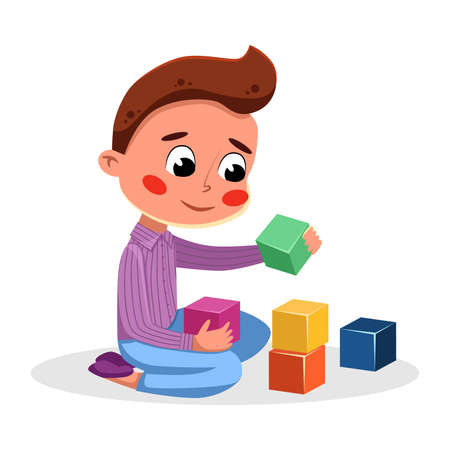 Cute Adorable Little Boy Playing with Colorful Toy Blocks, Kids Good Behavior Cartoon Style Vector Illustration