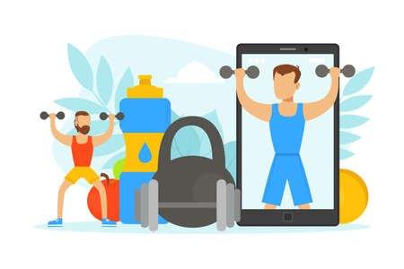 Tiny Man Doing Physical Exercises with Dumbbells with Online Coach, Healthy Lifestyle Concept Vector Illustration