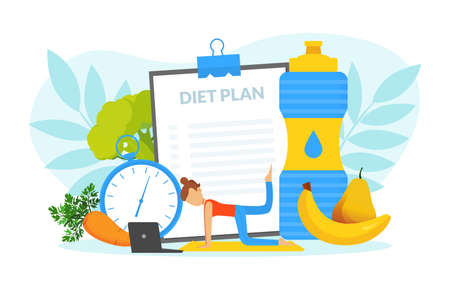 Healthy Lifestyle, Tiny Woman Training her Body in Gym and Eating Healthy Food, Weight Loss Concept Vector Illustration Иллюстрация