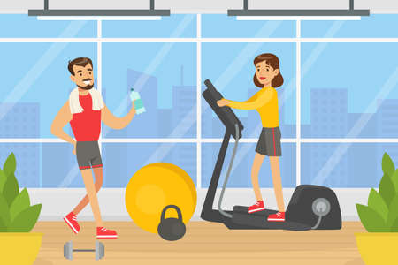 People Doing Exercises in Gym with Sports Equipment, Young Woman Running on Treadmill, Fitness Class, Healthy Lifestyle Concept Vector Illustration Иллюстрация