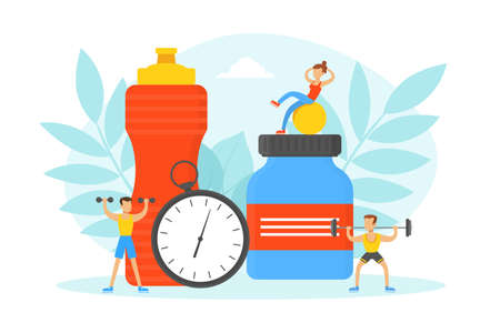 Tiny People Doing Exercises in Gym with Sports Equipment and Nutrition Supplements, Fitness Class, Healthy Lifestyle Concept Vector Illustration