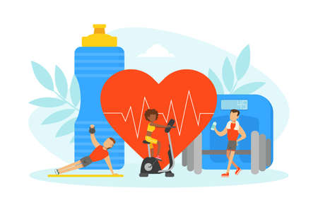 Tiny People Doing Sports Exercises with Equipment, Sports Nutrition Supplements, Fitness Class, Healthy Lifestyle Concept Vector Illustration
