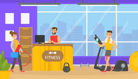 Fitness Club Reception Sesk with Male Receptionist, People Doing Sports Exercises in Gym Flat Vector Illustration