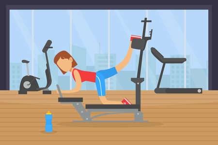 Young Woman Doing Exercises in Gym with Sports Equipment, Fitness Class, Healthy Lifestyle Concept Vector Illustration