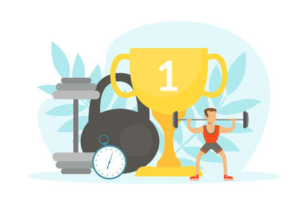 Tiny Man Doing Sports Exercise with Barbell, Huge Sports Equipment and Gold Winner Cup, Fitness Class, Healthy Lifestyle Concept Vector Illustration