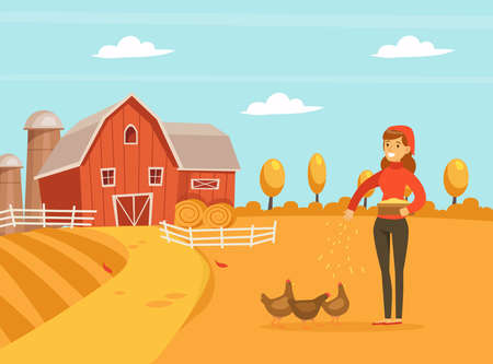 Woman Farmer Feeding Hen Chickens with Grain, Agricultural Industry, Healthy Food Production Vector Illustration Vecteurs