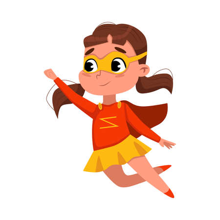 Cute Girl Playing Superhero Wearing Colorful Costume and Mask, Adorable Kid in Superhero Pose Cartoon Style Vector Illustration