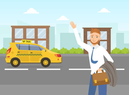 Businessman Hailing a Taxi Car, Mobile City Public Transportation Service Vector Illustration