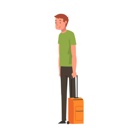 Male Traveler Standing with Suitcase, Male Tourist Character Vector Illustration