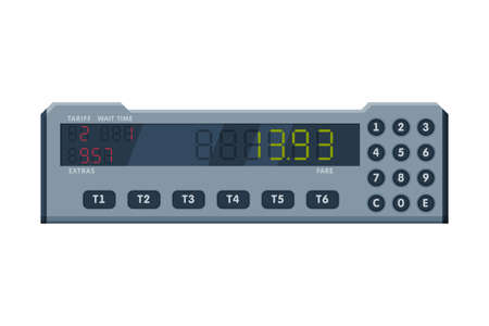 Taximeter Device, Calculating Equipment for Passenger Fare in Taxi Car, Measurement Appliance with Buttons and Screen Vector Illustration