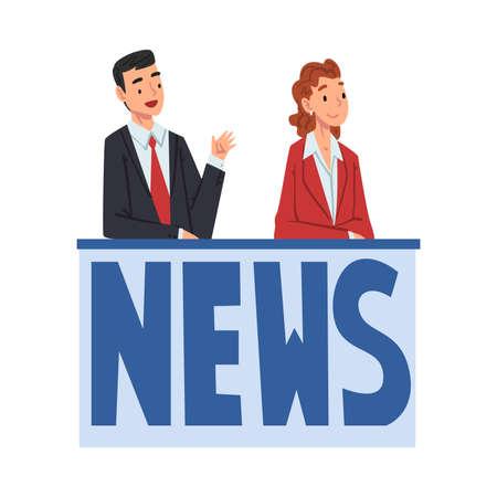TV News Anchors, Television Industry Concept Cartoon Style Vector Illustrationv Illustration