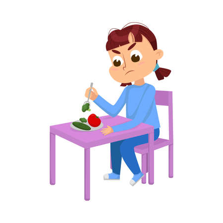 Cute Girl Sitting at Table and Eating, Child Does Not Want to Eat Vegetables Cartoon Style Vector Illustration Ilustrace