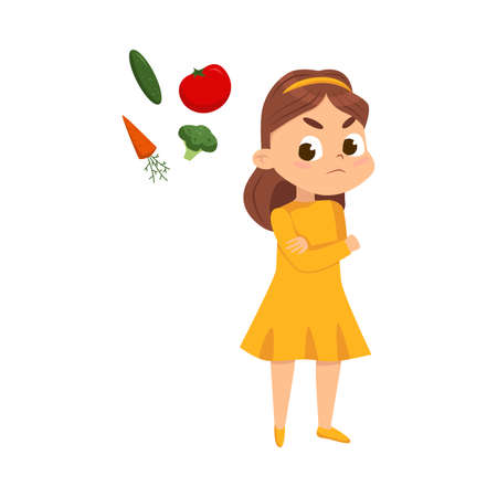 Cute Girl Does Not Want to Eat Vegetables, Kid Refusing to Try Healthy Food Cartoon Style Vector Illustration Ilustrace