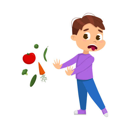 Cute Boy Does Not Want to Eat Vegetables, Kid Refusing to Eat Healthy Food Cartoon Style Vector Illustration