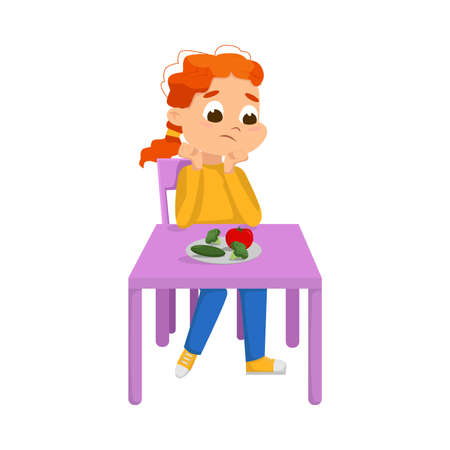 Cute Boy Sitting at Table and Eating Vegetables, Child Refusing to Eat Healthy Food Cartoon Style Vector Illustration Ilustrace