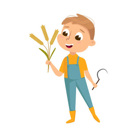 Cute Boy Holding Sickle and Sheaf of Spikelets in his Hands, Kid Farmer Character in Overalls Working on Farm Cartoon Style Vector Illustration