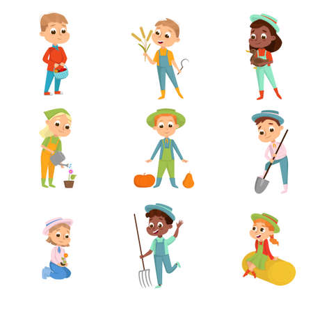 Cute Boys and Girls Working on Farm Set, Little Kids Farmers Characters in Overalls with Gardening Tools Cartoon Style Vector Illustration