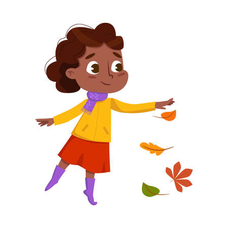 Cute African American Girl Playing with Autumn Leaves, Happy Kid Playing Outdoors in Fall Season Cartoon Style Vector Illustration