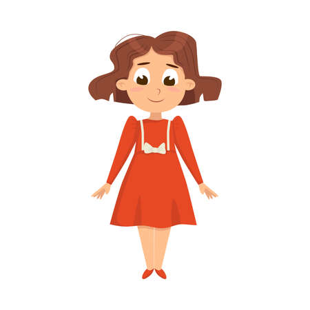 Pretty Little Girl in Elegant Red Dress, Cute Kid Wearing Retro Clothes Cartoon Style Vector Illustration