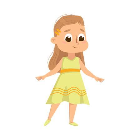 Beautiful Little Girl in Elegant Yellow Dress, Cute Kid Wearing Nice Clothes Cartoon Style Vector Illustration Ilustración de vector