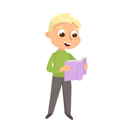 Cute Intelligent Boy Reading Book, Education and Knowledge Concept Cartoon Style Vector Illustration