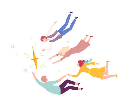 Group of People Floating in Imagination Dreams, Male and Female Person Flying in Sky with Stars Wearing Casual Clothes Flat Style Vector Illustration