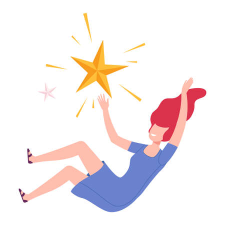 Girl Floating in Imagination Dream, Young Woman Flying in Sky with Star Flat Style Vector Illustration