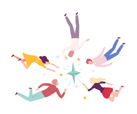 Group of People Flying to the Stars, Men and Women Floating in Dreams or Sky Wearing Casual or Sleepwear Clothes Flat Style Vector Illustration