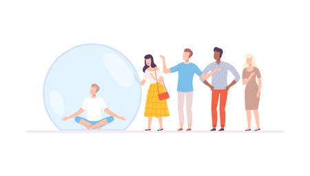 Young Man Meditating in Transparent Protective Bubble, Separation from Society or Solitude Concept Flat Style Vector Illustration