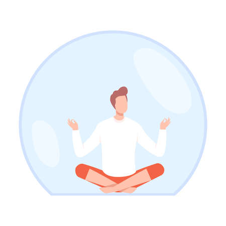 Young Man Meditating Inside Transparent Protective Bubble Flat Style Vector Illustration