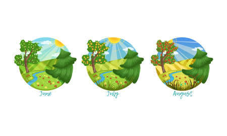 Three Months of the Year Set, Summer Season Nature Landscape, June, July, August Months Vector Illustration