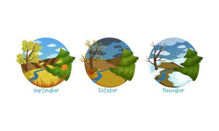 Three Months of the Year Set, Autumn Season Nature Landscape, September, October, November Months Vector Illustration