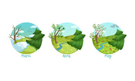 Three Months of the Year Set, Spring Season Nature Landscape, March, April, May Months Vector Illustration