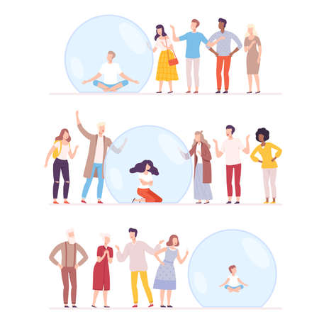 Unsocial Man, Woman and Kid Sitting Inside Transparent Bubbles Set, People Trying to Reach Them, Separation from Society, Solitude Concept Flat Style Vector Illustration
