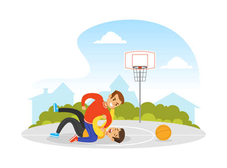 Two Boys Fighting on Basketball Playground, Violence and Aggression between Children Concept Vector Illustration