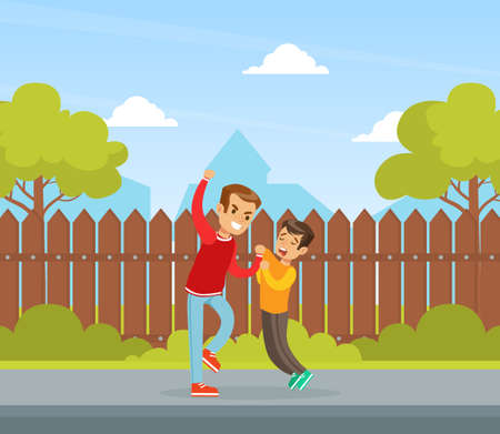 Boy Get Bullied by Another on Backyard, Aggressive Boy Bullying Younger, Violence and Aggression between Children Concept Vector Illustration