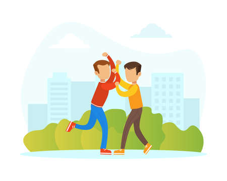 Two Boys Fighting on Street, Violence and Aggression between Children Concept Vector Illustration